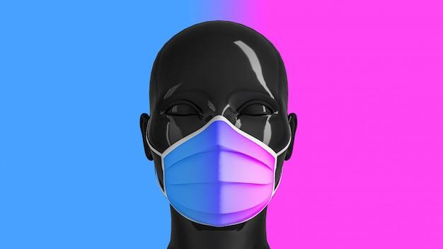 의료 개념, 언론의 자유 금지의 개념. 의료 마스크에 여자의 빛나는 유행 검은 머리 컬러 배경 색깔.