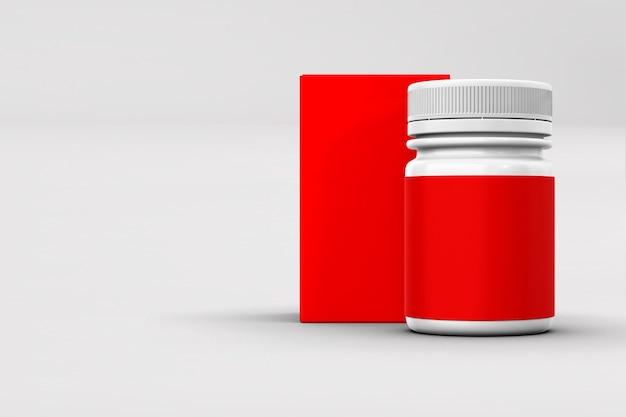 Medical container with blank label Premium Photo