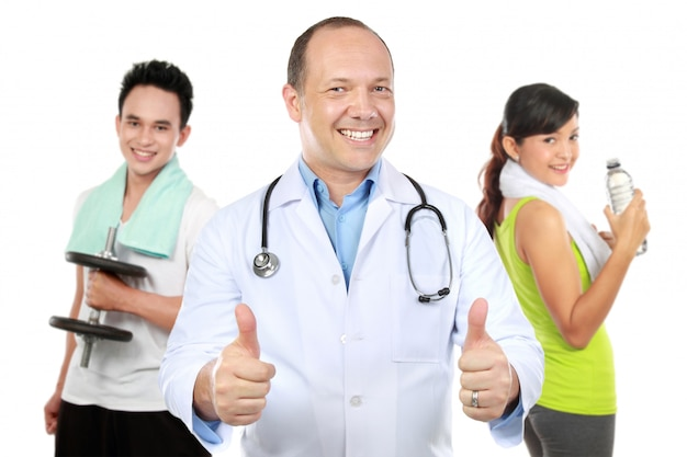 Medical doctor and people doing exercise at the background