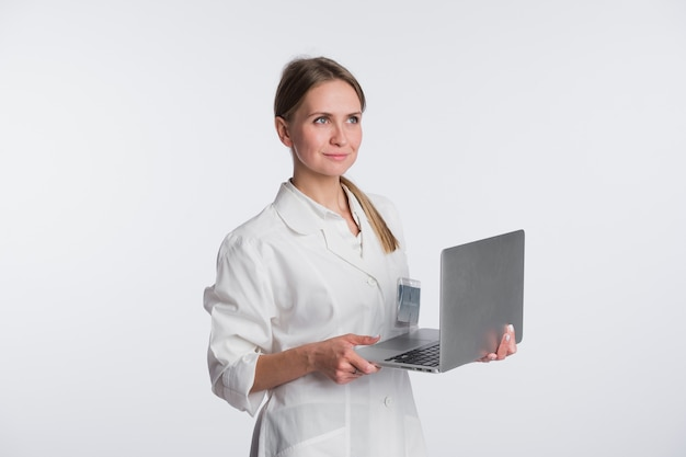 Medical doctor woman hold tablet pc