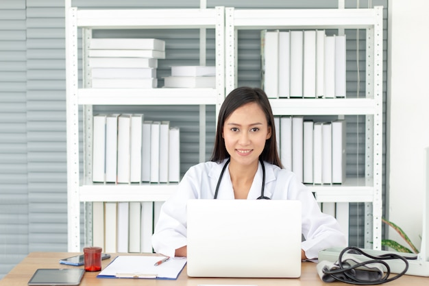 Medical doctor woman in the office room