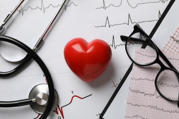 Медицинские документы с результатами кардиограммы и сердца