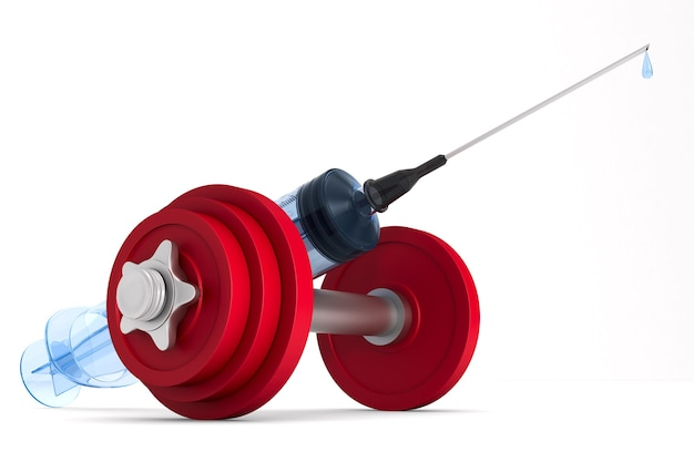 Medical and dumbbell syringe. isolated, 3d rendering