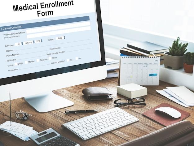 의료 등록 양식 문서 메디케어 개념