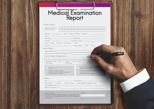 Medical examination report patient record concept