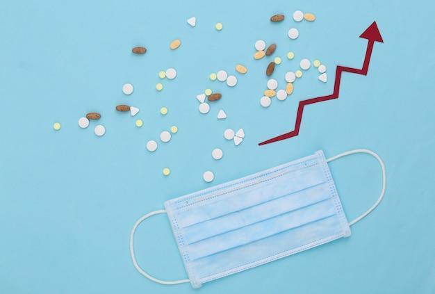 파란색에 위쪽으로 돌보는 성장 화살표와 함께 의료 페이셜 마스크와 약 병