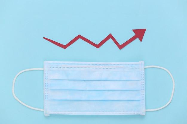 성장 화살표가 파란색에 위쪽으로 기울어지는 의료용 페이셜 마스크
