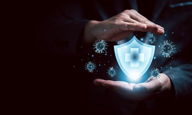 Концепция медицинского страхования здоровья и жизни, защитные жесты с виртуальной защитой для предотвращения вируса короны или covid 19. концепция здравоохранения с помощью 3d-рендеринга.