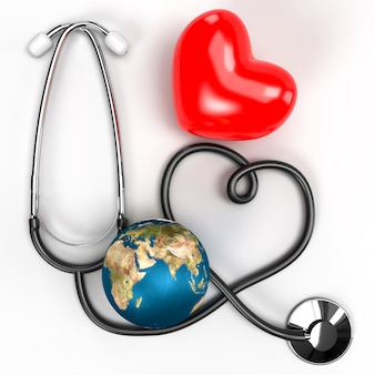 Medical health care and stethoscope service with a red heart, earth.
