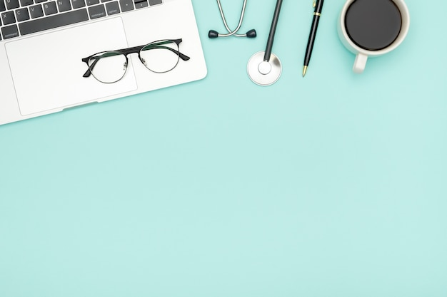 Medical healthcare background. flat lay objects with copy space