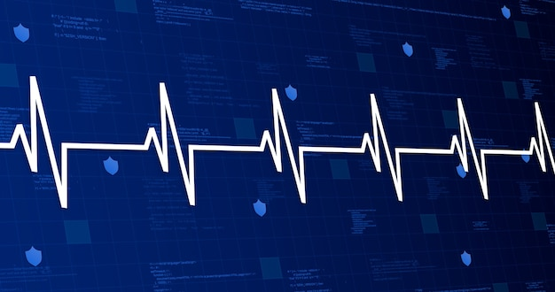 Медицинский график сердцебиения на технологическом фоне 3d