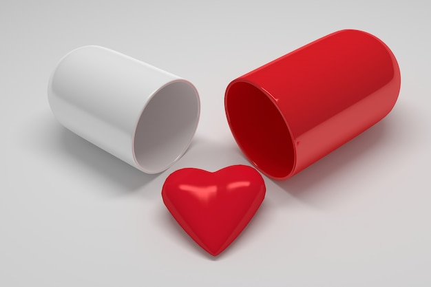 Medical help for heart disease. red big shiny heart with a large capsule pill on white
