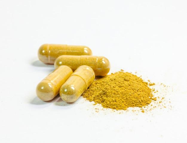 Medical herbal capsule close up
