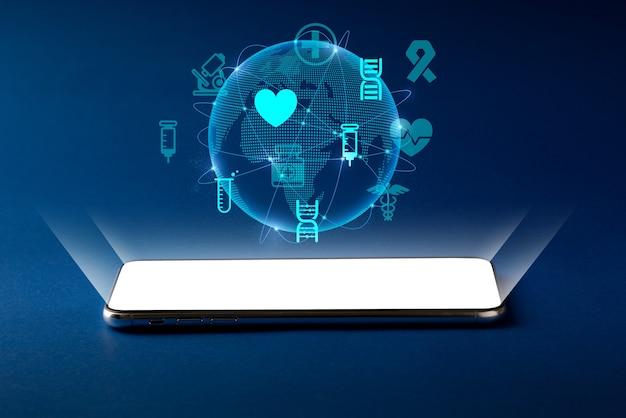 추상적 인 배경을 가진 스마트 폰의 의료 아이콘 및 응용 프로그램