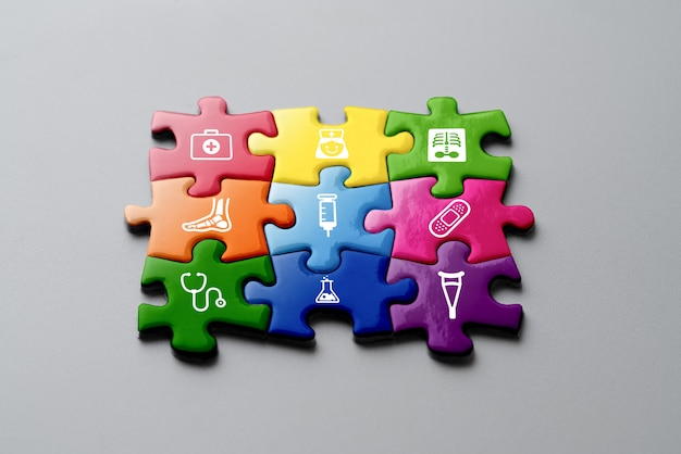 Medical icon on jigsaw for global health care