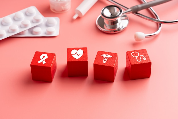 Medical icon on jigsaw puzzle for global health care