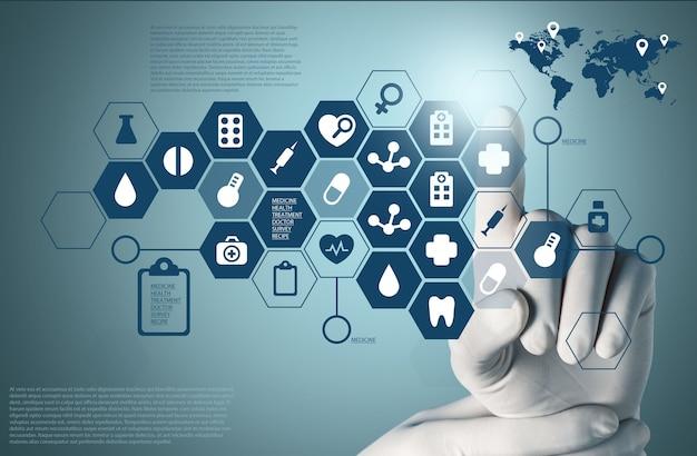 Медицинские иконки и рука врача в перчатке