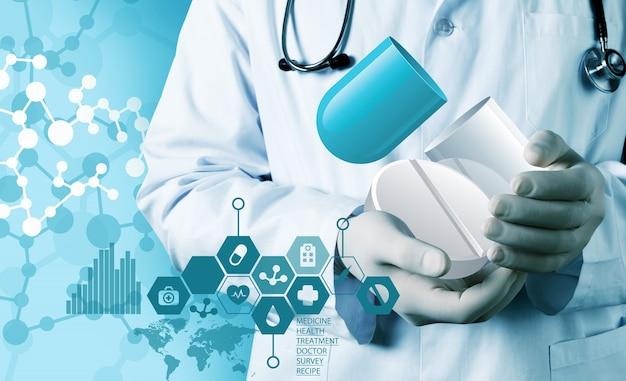 医療アイコンと聴診器を持つ若い医者