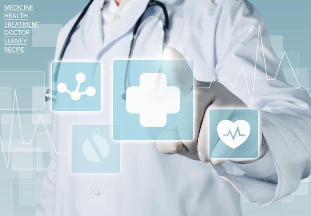 Медицинские иконки и молодая женщина-врач со стетоскопом