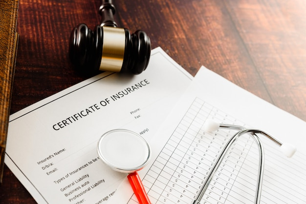 Medical insurance contract is brought to court by a plaintiff for the judge to decide.