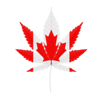 Medical marijuana or cannabis hemp leaf with canada flag colors on a white background. 3d rendering