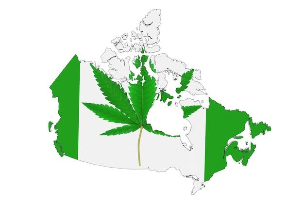 白い背景の上のカナダの旗と地図としての医療用マリファナまたは大麻麻の葉。 3dレンダリング