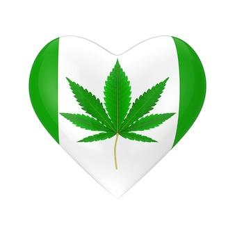白い背景の上のハートのアイコンとして医療用マリファナまたは大麻麻の葉。 3dレンダリング