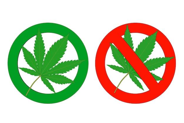 医療用マリファナまたは大麻麻の葉は、薬物がないためサインを禁止し、緑は白い背景にマリファナサインを許可します。 3dレンダリング