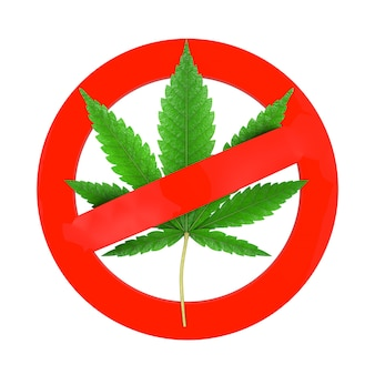 医療用マリファナまたは大麻麻の葉は、白い背景に薬物禁止標識として表示されます。 3dレンダリング