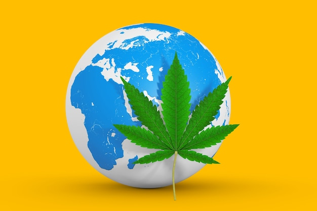 Медицинская марихуана или конопляный лист конопли перед земным шаром на желтом фоне. 3d рендеринг