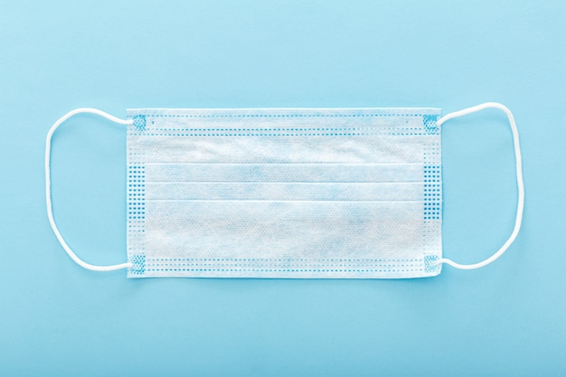 Medical mask, medical protective mask on blue background. disposable surgical face mask cover the mouth and nose for healthcare