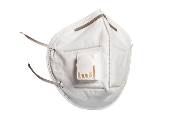 Medical mask with a valve that protects against viruses in a coronavirus pandemic isolated on a white background