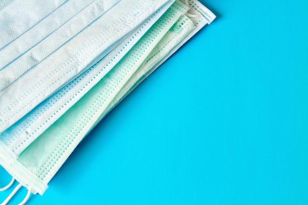 Medical masks. medical protective masks on blue background. healthcare and medical concept.