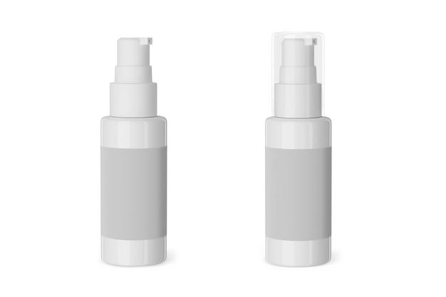 의료 또는 화장품 스프레이 모형. 빈 스프레이 병 모형. 3d 렌더링입니다.