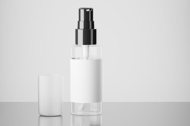 의료 또는 화장품 스프레이 모형. 빈 스프레이 병 모형. 검은색 스프레이 뚜껑. 라벨이 있는 투명 스프레이 병. 3d 렌더링입니다.