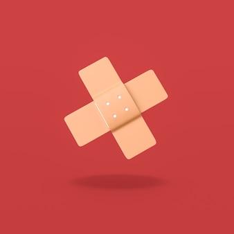 빨간색 배경에 의료 패치