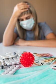 Медицинские таблетки, банкноты евро, пилюли и модель коронавируса с женщиной, чувствующей себя больной