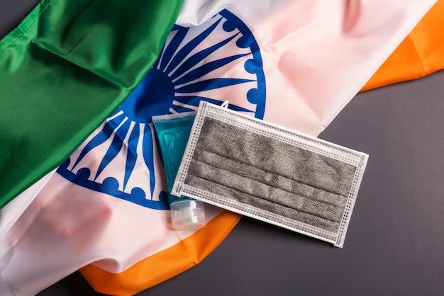 Медицинская защитная одноразовая маска для рта с флагом индии