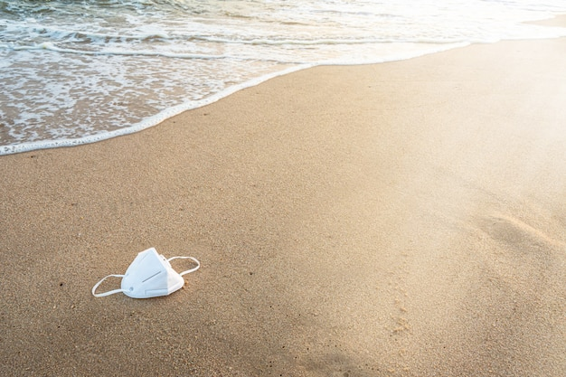 Medical protective mask on the beach.