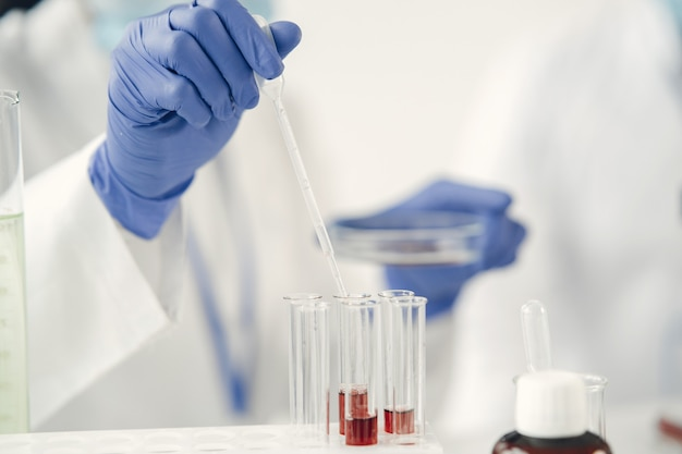 Medical research, coronavirus concept. biochemical research of blood, lab assistant doing microbiological analysis.