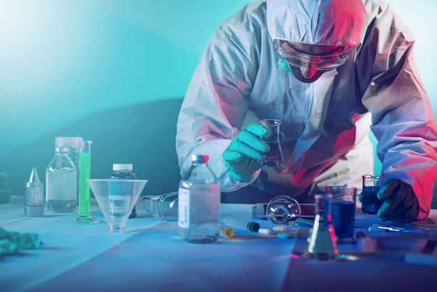 Medical researcher tries to find a solution to the virus at laboratory