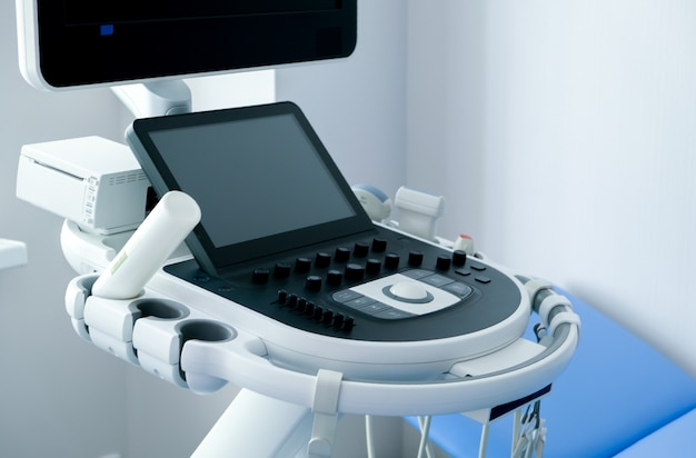 Medical room with ultrasound diagnostic equipment. ultrasound machine.