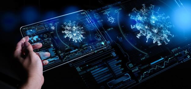 Covid-19 전염병의 분석 및 샘플링을 위해 생물학적 ar과 함께 실험실에서 현대 태블릿 컴퓨터를 사용하는 의학 박사.