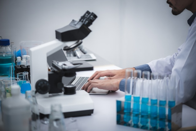 Medical scientists are analyzing data in the laboratory.