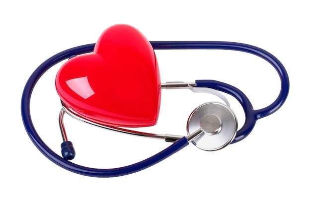 医療聴診器と白で隔離される赤いハート