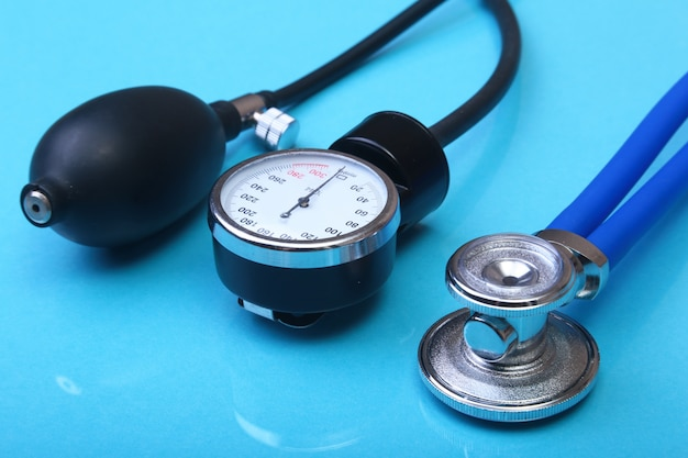 Medical stethoscope and blood pressure meter.