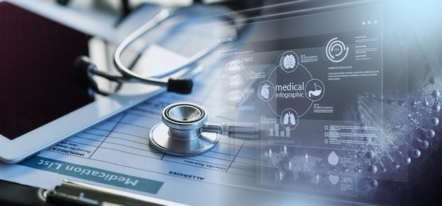 Медицинский стетоскоп на столе и иллюстрации здравоохранения
