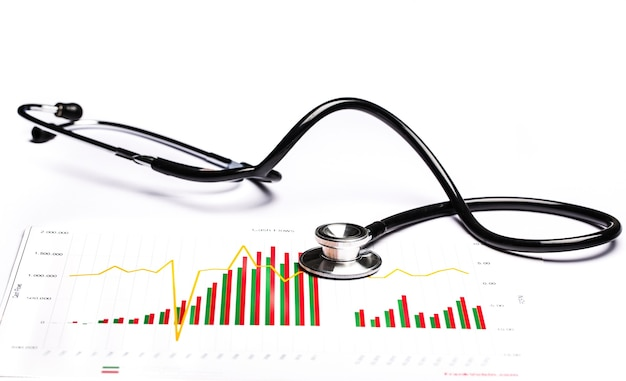Medical stethoscope with graph on  background