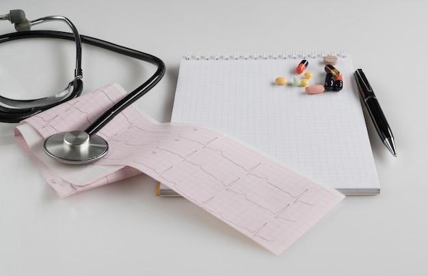 白い表面に錠剤と眼圧計を備えた医療聴診器。処方箋