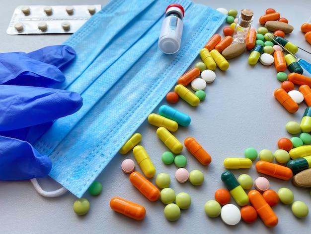 白い背景、パンデミックの医薬品。セレクティブフォーカス